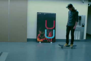 "Wade Guyton's ""Untitled (Fire, Red/Black U) with Skateboarder Christopher Martin"
